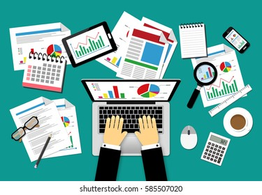 Vector illustration Business concepts, flat design. Banner for management and planning financial, statistics, strategic, analyzing, research, development, marketing, solution.