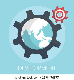 "Vector illustration of business development & gear solution concept with ""development"" teamwork concept icon."