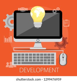 """Vector illustration of business development & solution concept with """"development"""" creative solution icon."""