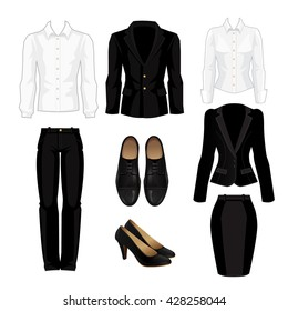 Vector illustration of business dress code. White formal shirt, black suit and shoes