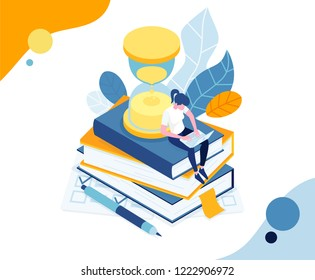 vector illustration business education. graphics design a person solves the tests and passes the exam online, for a certain time on the hourglass. online training, test solution