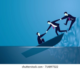 Vector illustration. Business failure rescue recovery teamwork concept. Businessmen work together, helping each other to save themselves from sinking boat