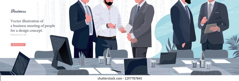 Vector illustration for business and finance. Informal meeting of business people, entrepreneurs and managers of the company.