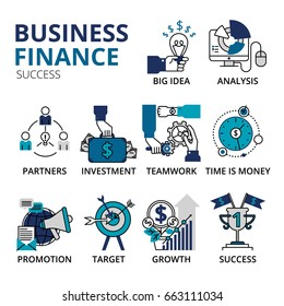 Vector illustration, business and finance success icons in modern flat line style. Creative vector illustration with a lot of business icons. Can be used for web, graphic design and brochure.