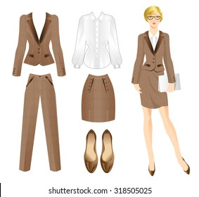 Vector illustration of business girl or professor in brown tweed suit. Formal clothes and shoes.