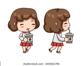 Vector illustration of business girl, secretary  or teacher in formal dress. Cute chibi character isolated on white background. Girl holding cap of coffee in her hand. Front view and side view girl .