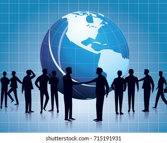 Vector illustration. Business global communication concept. Businessmen people speaking dialog speech collaboration technology