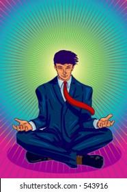 Vector Illustration of a business guru, meditating.
