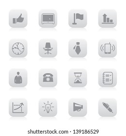 Vector illustration of business icons in buttons.