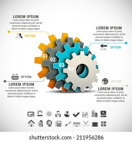 Vector illustration of business infographic made of gears.
