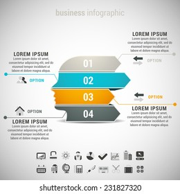 Vector illustration of business infographic made of head and arrrow.