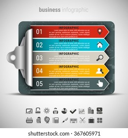 Vector illustration of business infographic made of checklist board.