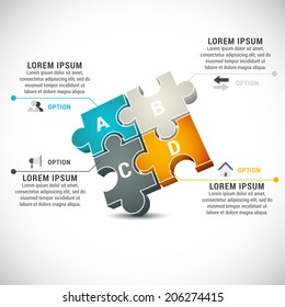 Vector illustration of business infographics made of puzzle.