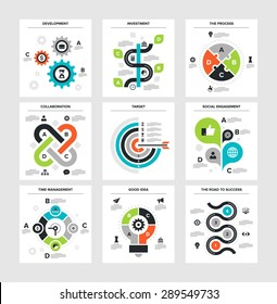 Vector illustration of business infographics on following themes - development, investment, the process, collaboration, target, social engagement, time management, good idea, the road to success