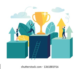 Vector illustration of business, leadership qualities in a creative team, direction on a successful path, small people are happy to have a winner, successful career, building.