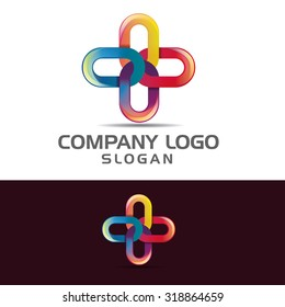 vector illustration for business logo cross-linked, template example of creative emblem for the brand
