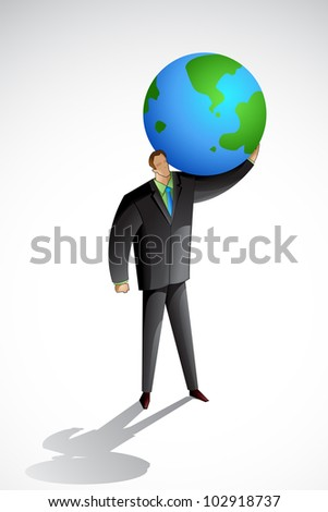 vector illustration business man carrying earth stock vector