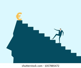 Vector illustration, Business man climbing, pursuing wealth