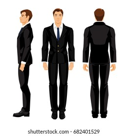 Vector illustration of business man in formal white shirt and black suit isolated on white background. Various turns man's figure. Side view, front and back view