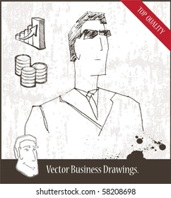 Vector illustration. Business man in glasses.