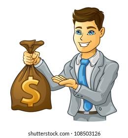 Vector illustration of business man holding money bag on white background.
