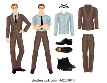 Vector illustration of business man or professor in glasses. Brown suit, blue shirt and formal black shoes