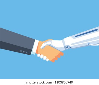vector illustration business man and robot handshake. future business illustration. flat vector