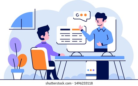 Vector Illustration Business man study in online course the mentor explain in online class computer learn flat and outline design style