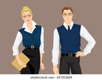 Vector illustration of business man or teacher in formal clothes isolated on color background. Blonde woman holding document