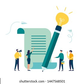 Vector illustration, business meeting and brainstorming, business concept for collaboration, finding new solutions, pencil with light bulb