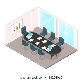 A vector illustration of a Business Meeting internet Icon. Isometric conference room interior. Education and learning in Business meeting in modern office.
