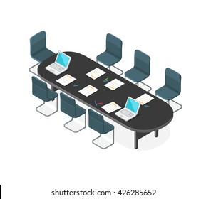 A vector illustration of a Business Meeting internet Icon. Isometric corporate meeting. Business meeting with table and chairs.