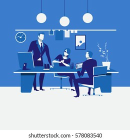 Vector illustration of business meeting at workplace. Office interior. Work scheduling, planning, brainstorming, teamwork concept design element in flat style.
