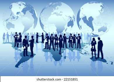 Vector Illustration of  business men conducting global business around the world