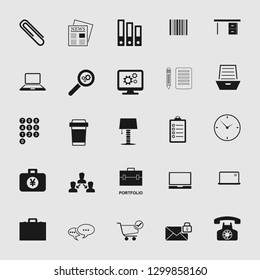 Vector illustration of business, office, computer and phone icons set