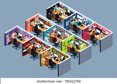 A vector illustration of Business Office Cubicles in Isometric