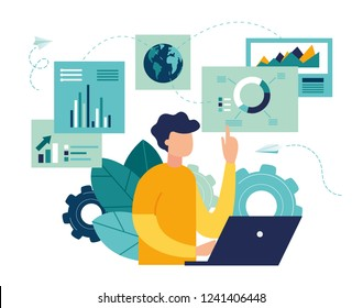 vector illustration of business, office workers are studying the infographic, the analysis of the evolutionary scale