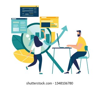 vector illustration of business, office workers are studying the infographic, the analysis of the evolutionary scale - Vector