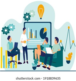 Vector illustration of a business, office workers study infographics on a graph of columns, analyze the evolutionary scale, business negotiations