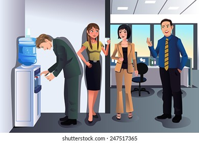 A vector illustration of business people chatting near a water cooler in the office