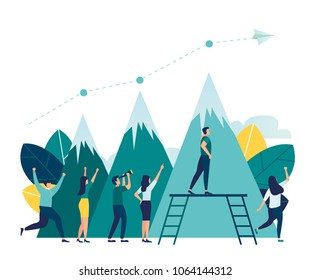 vector illustration business. business people conquer the mountain. metaphor the way to the goal and the distribution of seats between the participants. visible career growth, a company of workers rej