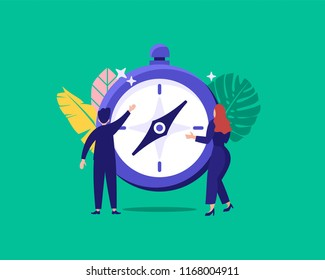 vector illustration of business people find navigation with compass can be use for web, landing page, ui, wallpaper, template, banner, flyer