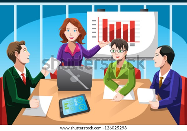 A vector illustration of business people having a discussion in a meeting