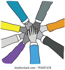Vector illustration of business people join hands, putting together in concept of cooperation, collaboration, teamwork. Top view, close up, linear, thin line art, hand drawn sketch, simple color.