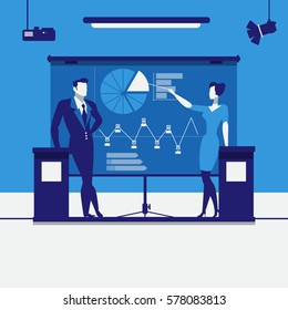 Vector illustration of business people making presentation. Woman pointing at chart, diagram on projection screen. Business presentation concept design element in flat style.