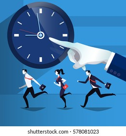 Vector illustration of business people running, catching up the time. They are in a hurry for work. Forefinger pointing at time on the clock. Flat style design element.