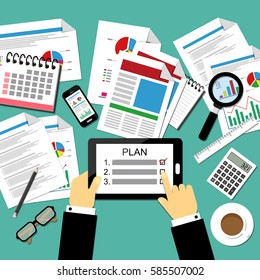Vector illustration of business plan concept on the office table.