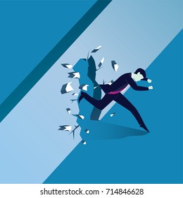 Vector illustration. Business power concept. Businessman running trough and breaking wall of obstacle. Conquering challenge.