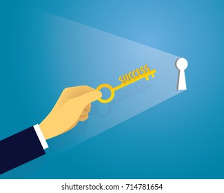 Vector illustration. Business success concept. Businessman holding key of success to open door of big opportunity winning glory in future