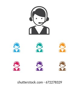 Vector Illustration Of Business Symbol On Hotline Icon. Premium Quality Isolated Call Center Element In Trendy Flat Style.